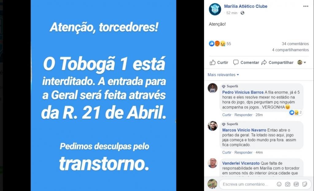 Giro Marília -Pré-jogo do MAC tem tobogã interditado, confusão na entrada do estádio e revolta nas redes sociais