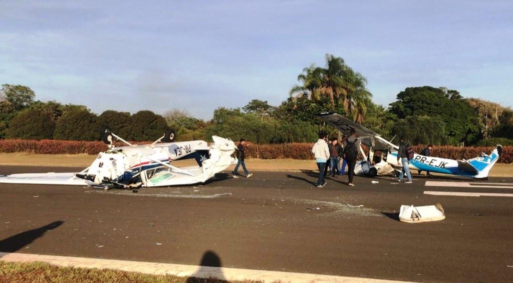 Giro Marília -Aviões batem durante pouso de treinamento em Itápolis