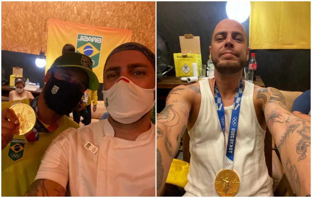 Giro Marília -Chef de Marília em Tóquio posa com Ítalo e medalha: tu tem que tirar foto com essa p...