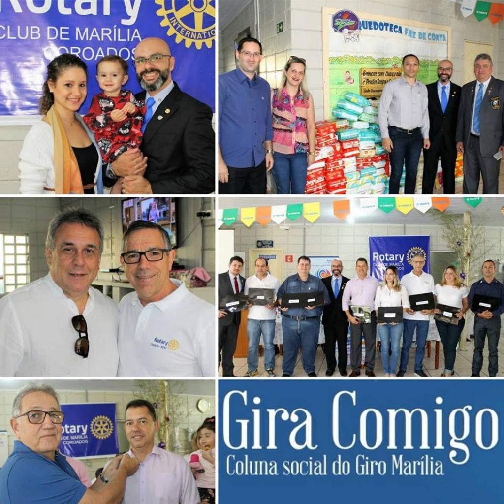 Giro Marília -Rotary Coroados empossa diretoria com ação social e anuncia projetos