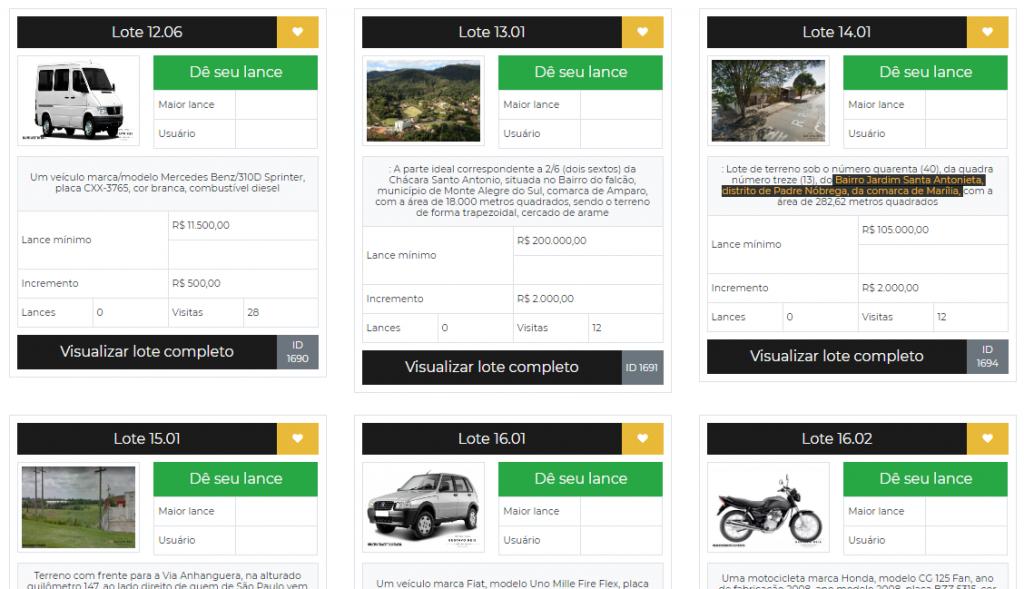 Giro Marília -Leilão do TRT em Limeira tem carros, imóveis e inclui lote de Marília