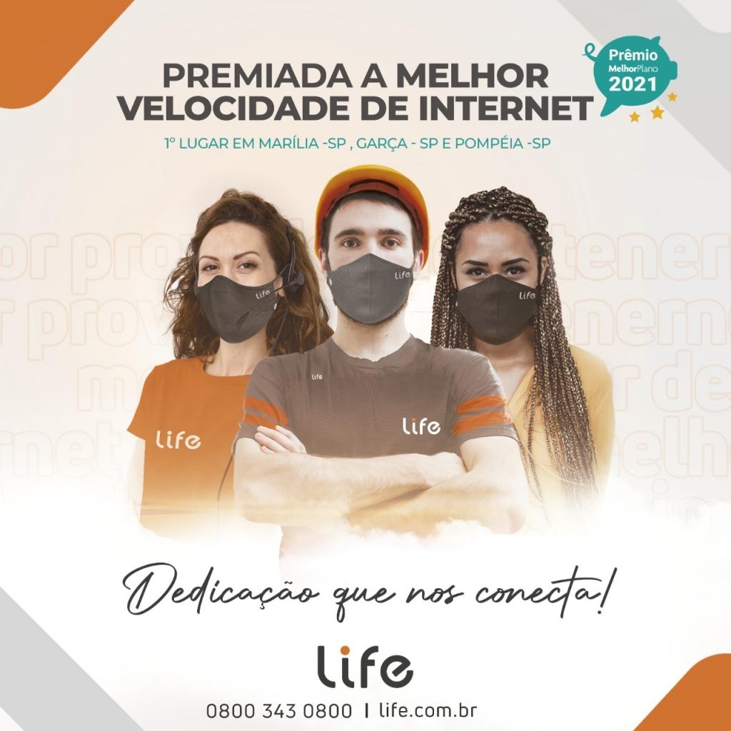 Giro Marília -Life conquista prêmio  Melhor Plano de Internet Banda Larga em Marília e região
