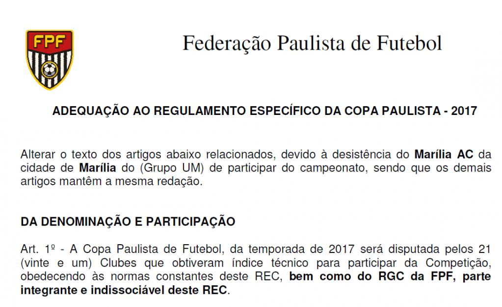 Giro Marília -Federação oficializa desistência do MAC na Copa Paulista e prevê multa