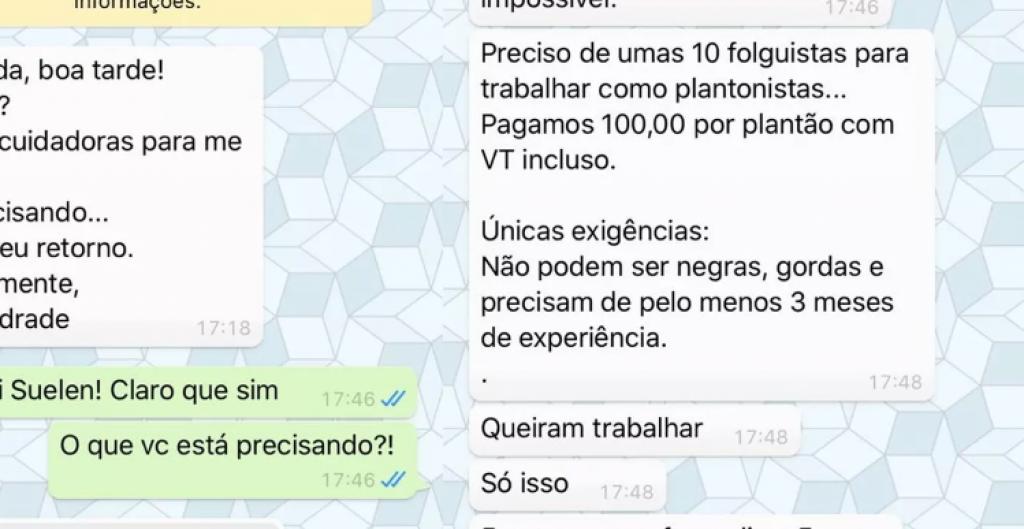 Giro Marília -Oferta de empregos veta 'negras e gordas' e vira caso de polícia em MG