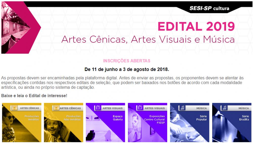 Inscrições para projetos culturais do SESI podem ser feitas até o dia 3 de agosto