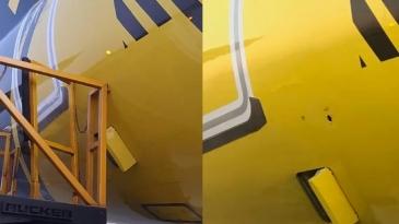Giro Marília -Caminhão bate em Airbus da Itapemirim e deixa buraco na fuselagem; veja