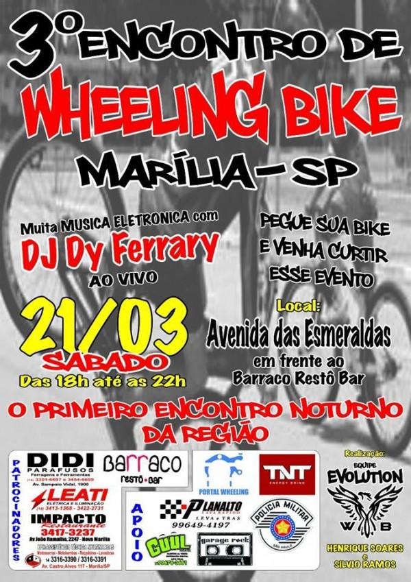 Giro Marília -CIdade tem encontro para praticar e aissistir wheeling bike
